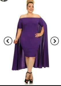 Sexy Diva Cape Dress Stretch Purple Bodycon 2XL